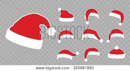 Santa Claus Hat Flat Set. Realistic Santa Claus Hat Isolated Transparent Background. Red Cap Silhoue