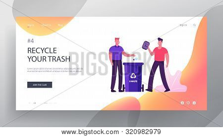 Ecology Protection Website Landing Page. People Throw Garbage To Containers For Organic And E-waste