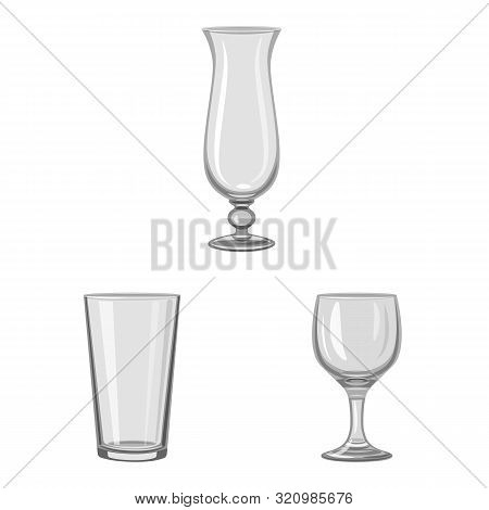 Vector Illustration Of Capacity And Glassware Sign. Collection Of Capacity And Restaurant Vector Ico