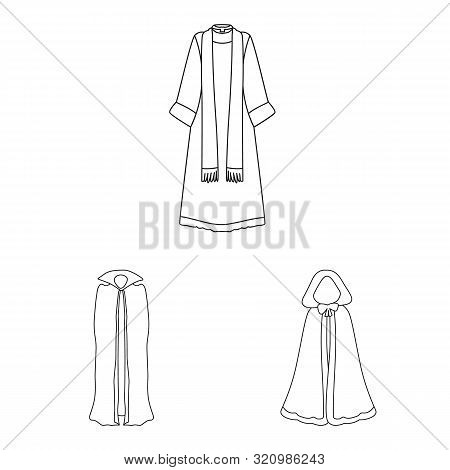 Vector Illustration Of Robe And Garment Symbol. Set Of Robe And Cloth Vector Icon For Stock.