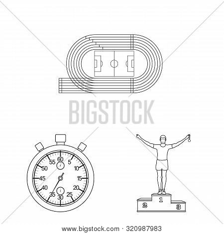 Isolated Object Of Exercise And Sprinter Logo. Set Of Exercise And Marathon Vector Icon For Stock.