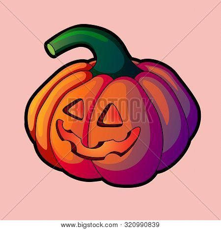 Vector Illustration Of Halloween Pumpkin. Smiling Cartoon Halloween Pumpkin Isolated On Light Backgr