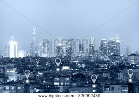 Location Gps  Or Map Pin Flat Above Blue Tone City Scape And Network Connection Concept. Blue Tone C