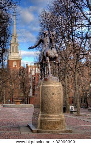 Paul Revere Statue at Paul Revere Mall in Boston, Massachusetts, USA.