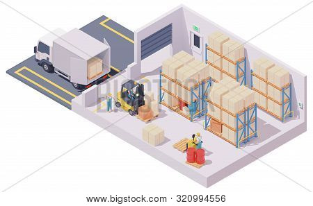Vector Isometric Warehouse Interior, Forklift Loaded With Boxes On Pallet, Box Truck, Forklift Drive