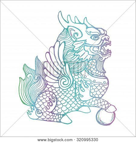 Gradient Color Llustration Of Cosmic Cilin. Picture Of A Mythological Creature