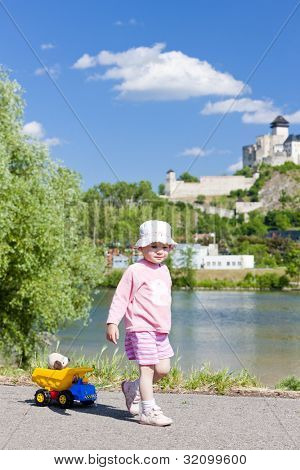little girl playing with a little car, Trencin, Slovakia