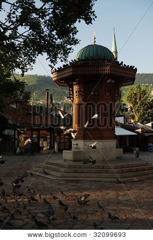 poster of sarajevo capital of bosnia in europe, old city center historical fountain and popular travel destination