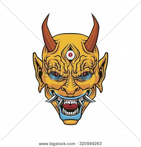 Demon Head. Vector Illustration For Use As Print, Poster, Sticker, Logo, Tattoo, Emblem And Other.