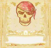 Skull Pirate - retro grunge card , vector illustration poster