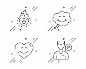 Heart flame, Smile and Smile chat line icons set. Valet servant sign. Love fire, Comic chat, Heart face. Parking man. People set. Line heart flame outline icon. Vector poster