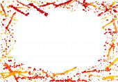 Abstract border with colorful watercolor splashes isolated on white poster