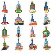 Japanese booze icons set. Cartoon set of 16 japanese booze vector icons for web isolated on white background poster