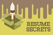 Writing note showing Resume Secrets. Business photo showcasing Tips on making amazing curriculum vitae Standout Biography Fire launching rocket carton box. Starting up project. Fuel inspiration. poster