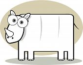 Cartoon Rhino in Black and White with Big Eye poster