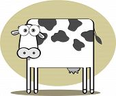 Cartoon Cow in Black and White with Big Eye poster