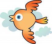 Illustration of Orange bird flying through cloud poster