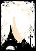 Illustration of the Eiffel Tower and decorative patterns poster