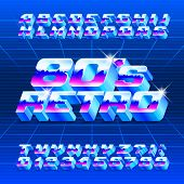 80s Retro alphabet font. 3D letters, numbers and symbols. Stock vector typescript for typography in retro 80 style. poster