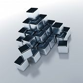 Abstract objects of the cubic form with a metal surface poster