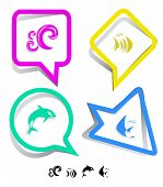Animal icon set. Fish, Killer whale, wave.  Paper stickers. raster illustration. poster