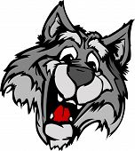 Wolf Mascot with Cute Face Cartoon Vector Image poster