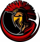 Graphic Trojan or Spartan Vector Mascot with Headdress poster