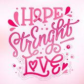 Hope. Strenght. Love - qoute. Lettering for concept design. Breast cancer awareness month symbol. Breast cancer october awareness month campaign. Breast cancer awareness ribbon. Breast cancer concept. Complicated lettering design in pink colors. Dots, spl poster