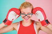 Woman boxing gloves adjust eyeglasses. Win with strength or intellect. Strong intellect victory pledge. Know how defend myself. Confident her power. Strong mentally and physically. Smart and strong poster