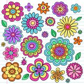 Flower Power Flowers and Ladybug Groovy Psychedelic Hand Drawn Notebook Doodle Design Elements Set on Lined Sketchbook Paper Background- Vector Illustration poster