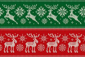 Christmas Knitting Pattern With Reindeer And Elk. Scheme For Wool Knit Winter Holiday Sweater Seamle
