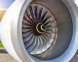 Close Up Of Engine Turbofan Turbine Blades Jet Engine In Modern Airplane