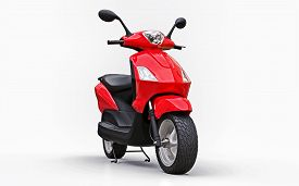 Modern Urban Red Moped On A White Background. 3d Illustration.