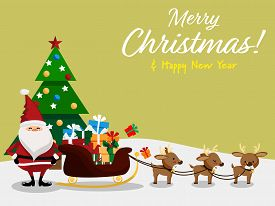 Christmas Cartoon Of Santa Claus, Reindeer, Gift Box, Christmas Tree And Merry Christmas & Happy New