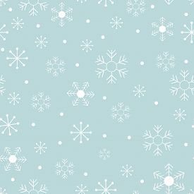 Seamless Pattern Cold Winter In Christmas Day With Cute Cartoon Snowflakes In Different Size On Blue