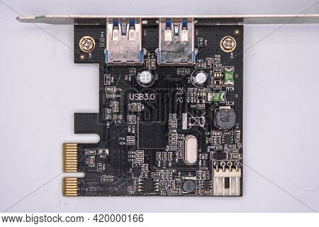 Computer Pci-e To Usb 3.0 Expasion Card On White Background. Pci-express Card For Connectors Additio
