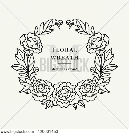 Peony Wreath, Floral Circle Monogram With Peonies, Floral Wreath, Farmhouse Floral Frame, Vector Ill