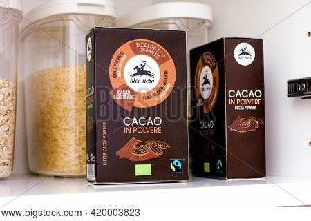 Tambov, Russian Federation - March 19, 2021 Organic Bitter Cocoa Powder Pack By Alce Nero In A Kitch