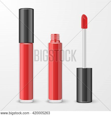 Vector 3d Realistic Closed, Opened Red Lip Gloss, Lipstick Package, Black Cap Set Isolated. Glass Co