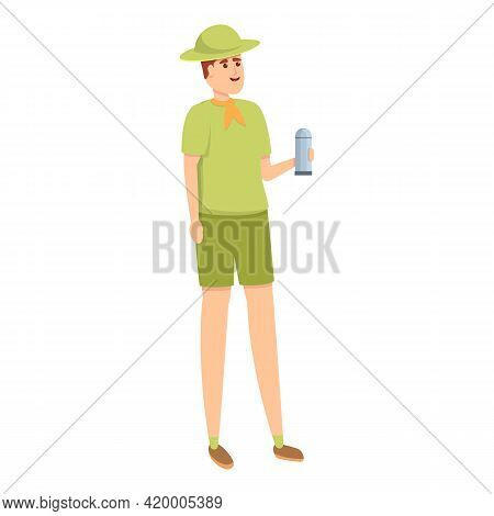 Scouting Thermos Bottle Icon. Cartoon Of Scouting Thermos Bottle Vector Icon For Web Design Isolated
