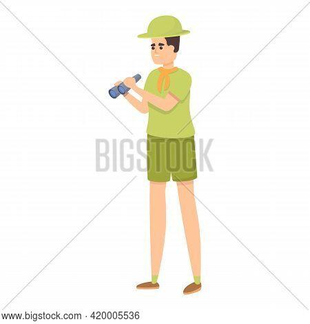 Scouting Boy Binoculars Icon. Cartoon Of Scouting Boy Binoculars Vector Icon For Web Design Isolated