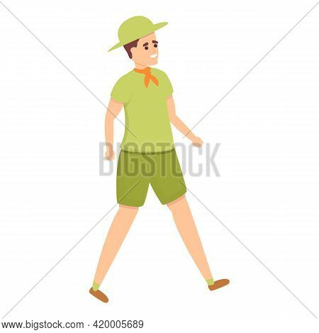 Scouting Walking Icon. Cartoon Of Scouting Walking Vector Icon For Web Design Isolated On White Back