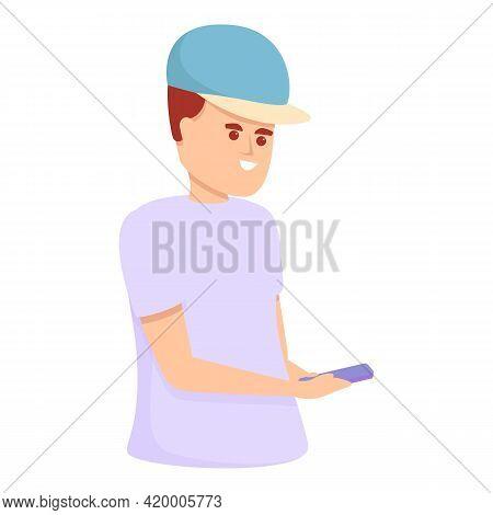 Schoolboy Messaging Network Icon. Cartoon Of Schoolboy Messaging Network Vector Icon For Web Design