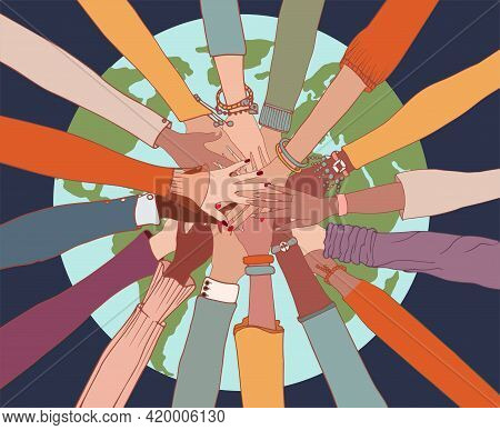 People Diversity. Arms And Hands On Top Of Each Other On The Globe.people Of Diverse Race Culture Et