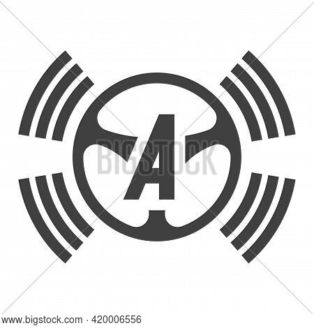 Autopilot System Icon. An Image Of The Autopilot Button In Cars. A Simple Linear Depiction Of A Rudd