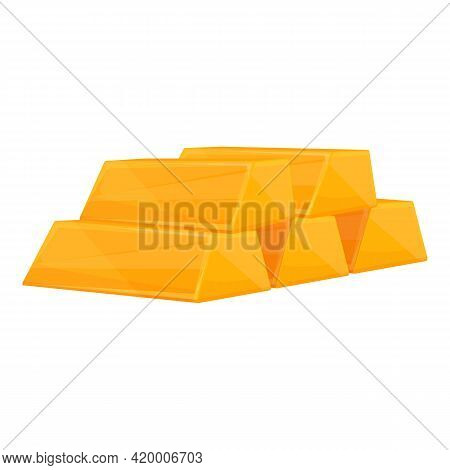 Gold Bar Deposit Icon. Cartoon Of Gold Bar Deposit Vector Icon For Web Design Isolated On White Back
