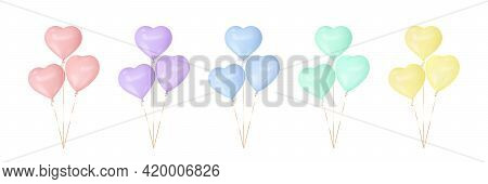 Set Of Colorful Heart Balloons. 3d Glossy Balloons For Valentines, Mothers, Fathers Day, Birthday Pa