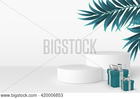 Vector 3d Podium Scene With Gift Boxes And Tropical Leaves. Mockup For Product Presentation With Cop