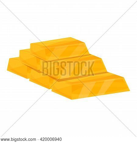 Golden Bar Pile Icon. Cartoon Of Golden Bar Pile Vector Icon For Web Design Isolated On White Backgr