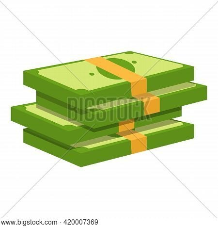 Bank Cash Pack Icon. Cartoon Of Bank Cash Pack Vector Icon For Web Design Isolated On White Backgrou